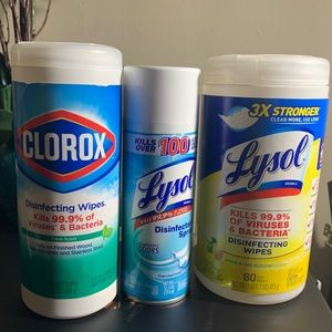 Lysol spray & wipes and Clorox wipes